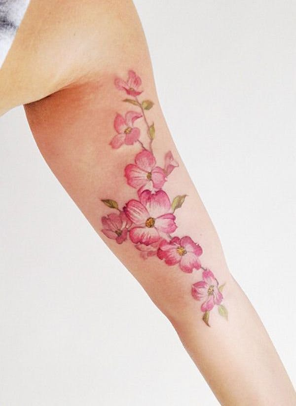 50 beautiful coloured tattoos from florals to geometric shapes cherry blossom tattoo mightylinksfo