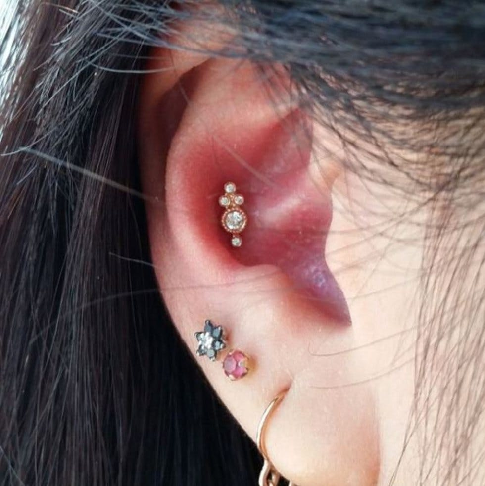 The 50 most unique multiple ear piercing ideas stylist colourful studs pooptronica Choice Image