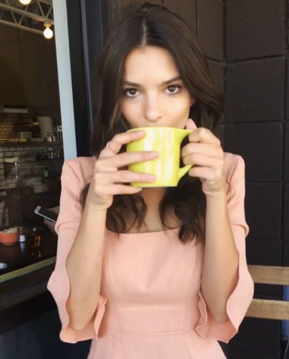 Emily Ratajkowski Enjoys Her Morning Brew