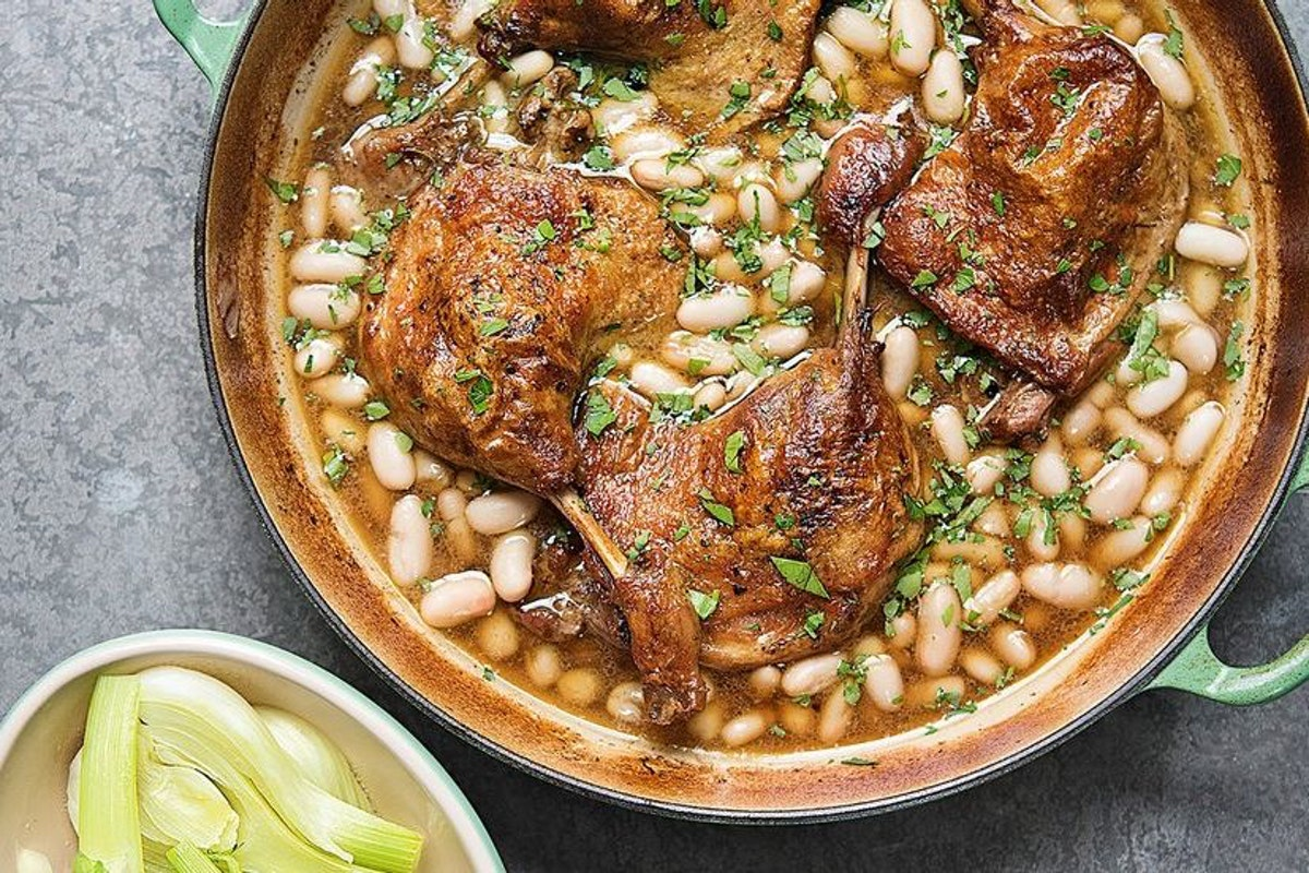 Duck with beans and greens