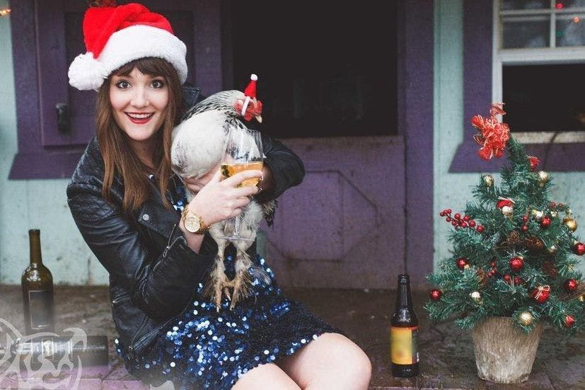 single woman sends her own comedic solo christmas cards