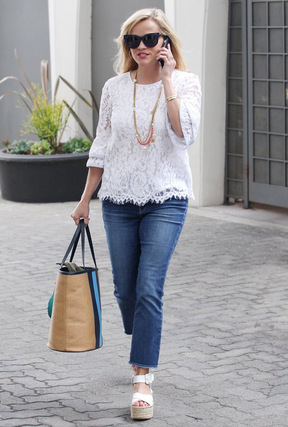 b6af5d9c7a6 A pair of espadrille flatforms lend a modern edge to a classic white lace  blouse and jeans combo. Finish the look with your favourite basket bag for  an ...