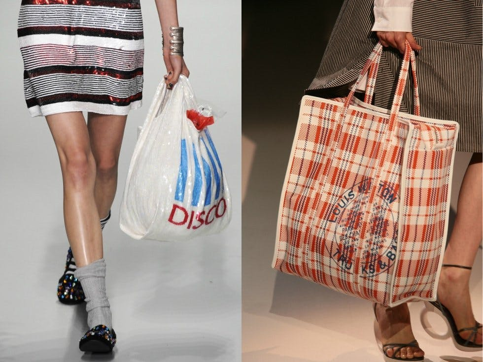 Other Designers Who Have Taken Inspiration From High Street Carrier Bags Include Ashish Ss14 Left And Louis Vuitton Ss07 Right