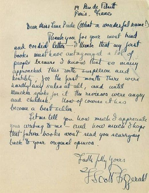 The most endearing and charming letters from famous authors to their fitzgerald replied to this letter from miss lane pride whose name he seemed to enjoy praising the great gatsby when it was first published in 1925 spiritdancerdesigns Images