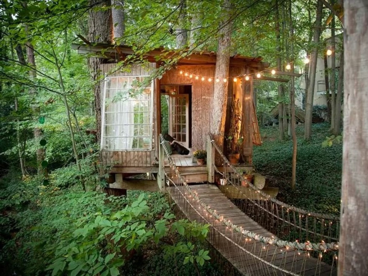Image result for treehouse with fairy lights