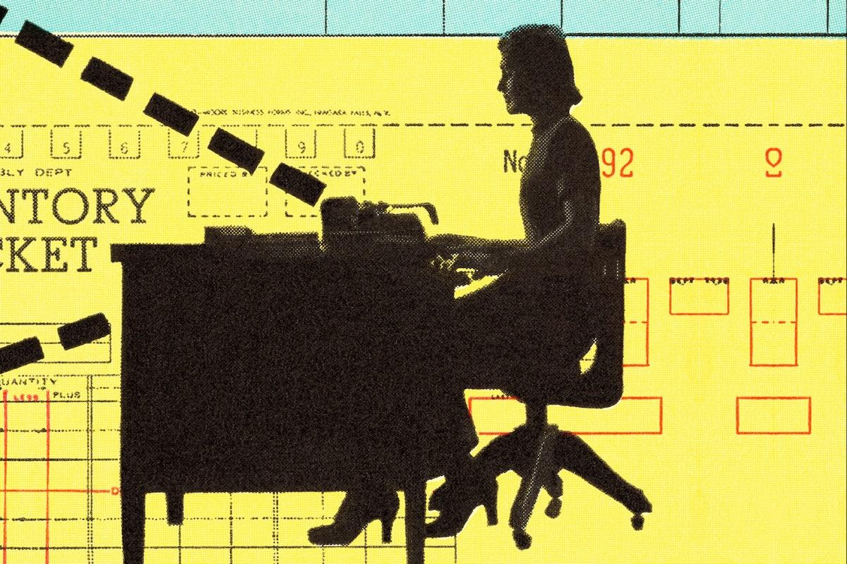 Graphic illustration woman at desk