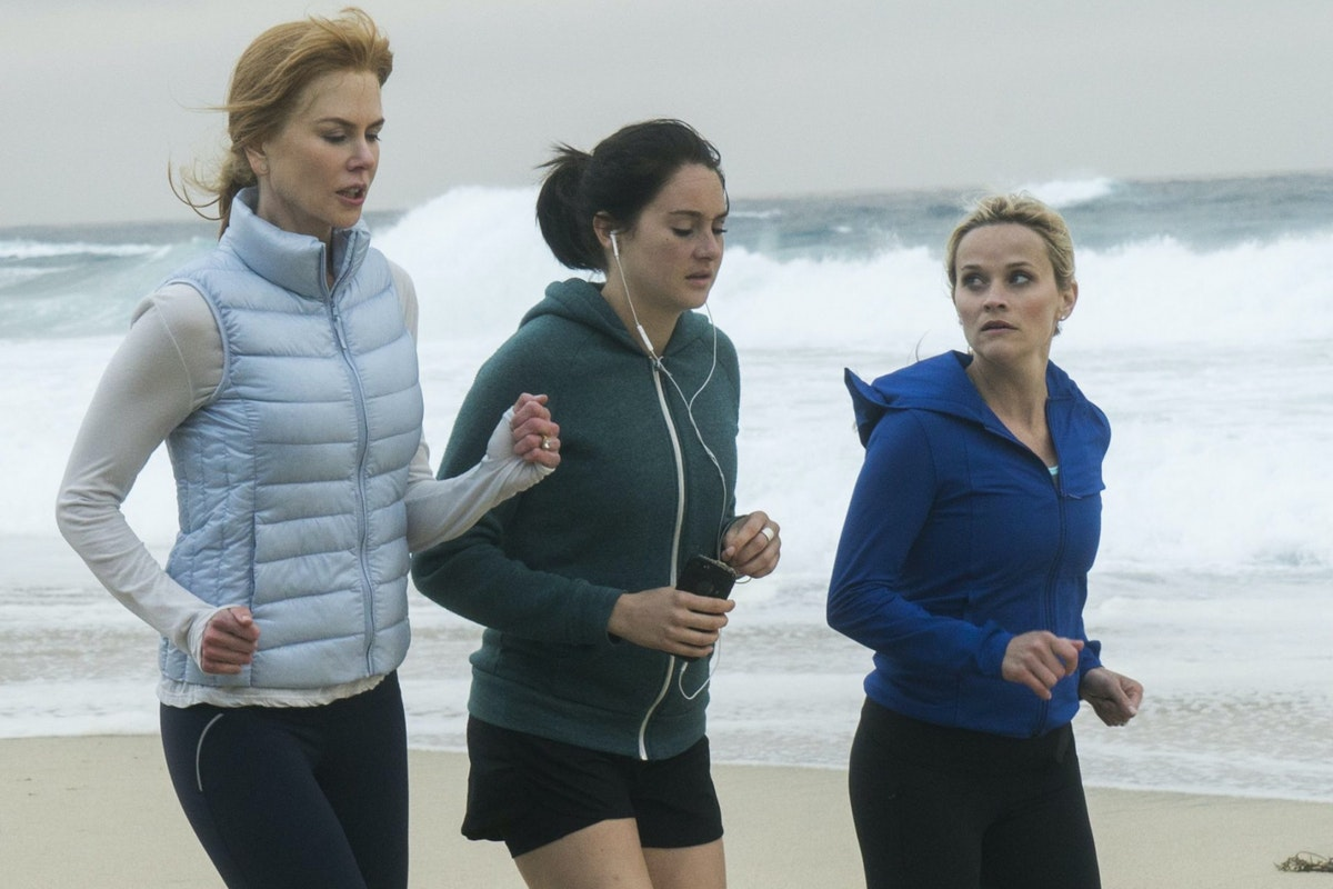 Nicole Kidman, Shailene Woodley and Reese Witherspoon run on a beach in a scene from Big Little Lies.