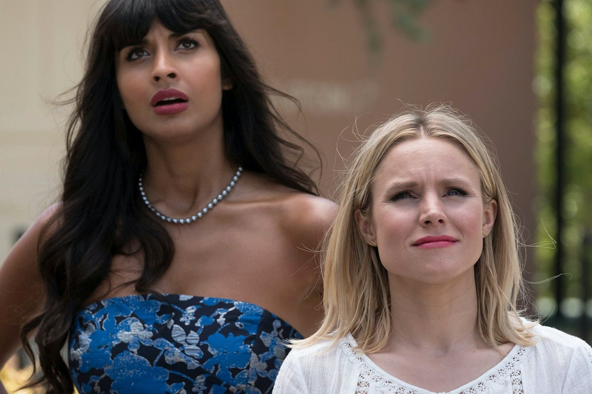 Jameela Jamil and kristen bell in the good place