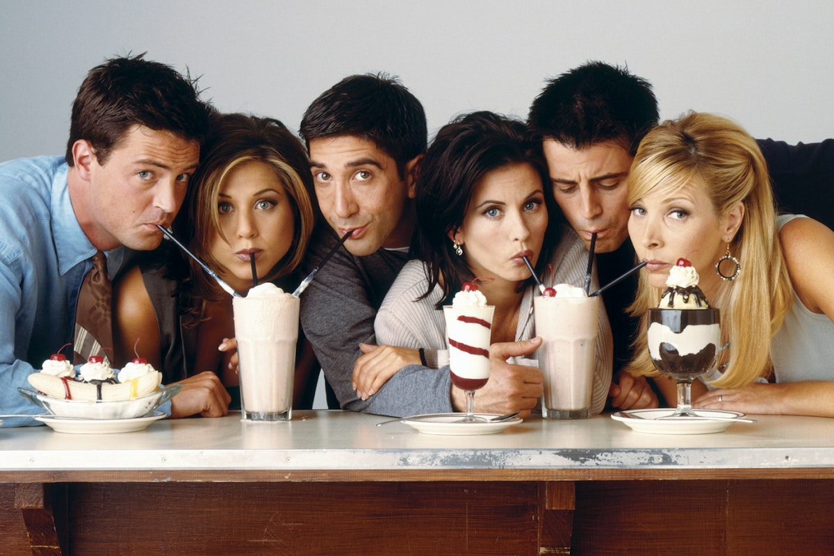 The Friends stars sip milkshakes together for a promotional poster