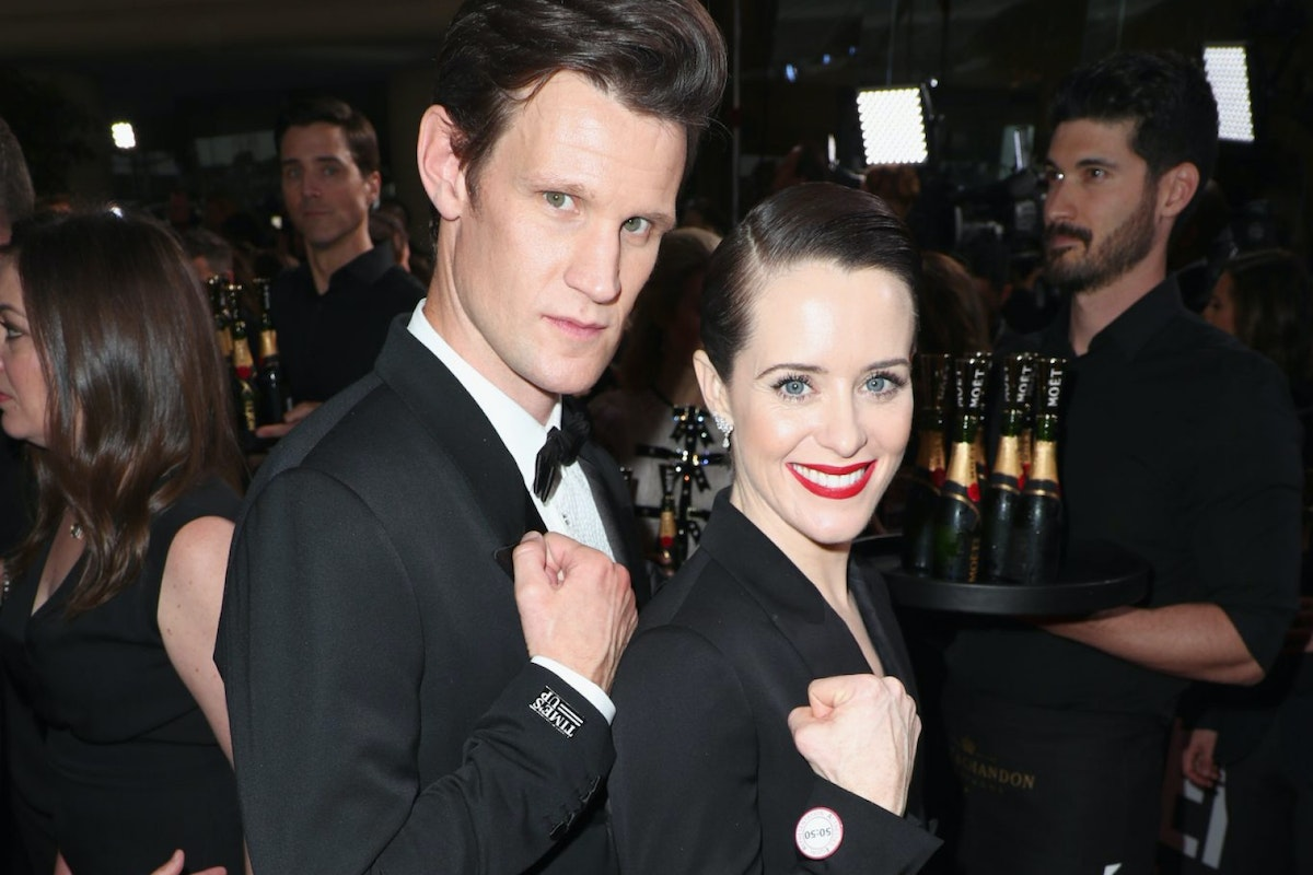 BEVERLY HILLS, CA - JANUARY 07: Actors Matt Smith (L) and Claire Foy celebrate The 75th Annual Golden Globe Awards with Moet & Chandon at The Beverly Hilton Hotel on January 7, 2018 in Beverly Hills, California. (Photo by Joe Scarnici/Getty Images for Moet & Chandon)