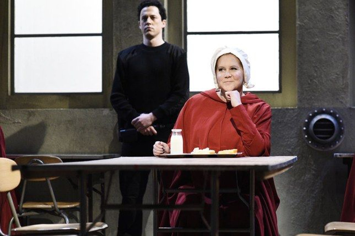 Amy Schumer in SNL's mash-up of Sex and the City and The Handmaid's Tale