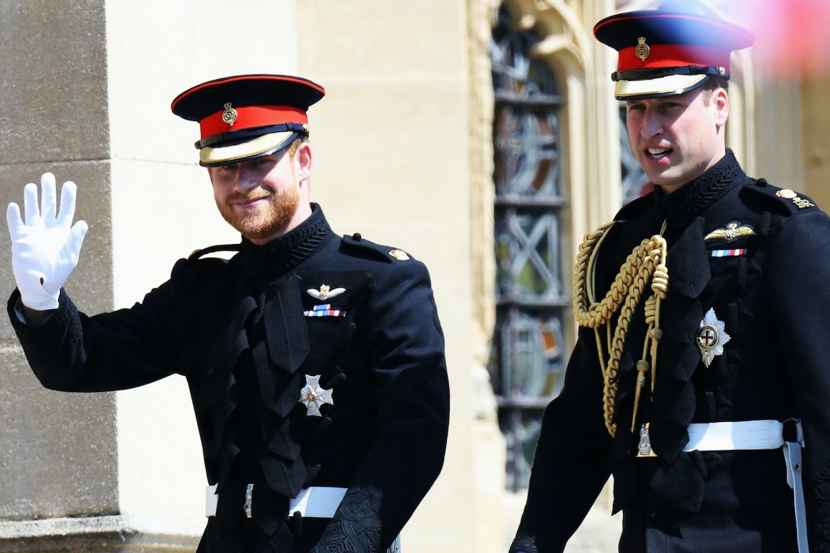 WINDSOR, ENGLAND - MAY 19: Prince Harry arrives at his wedding to Ms. Meghan Markle with Prince William, Duke of Cambridge at St George's Chapel, Windsor Castle on May 19, 2018 in Windsor, England. (Photo by Chris Jackson/Getty Images)