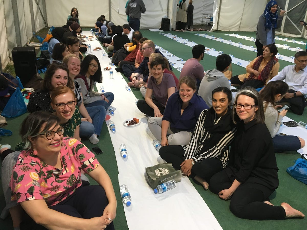 Sarah and friends at the ramadan tent project