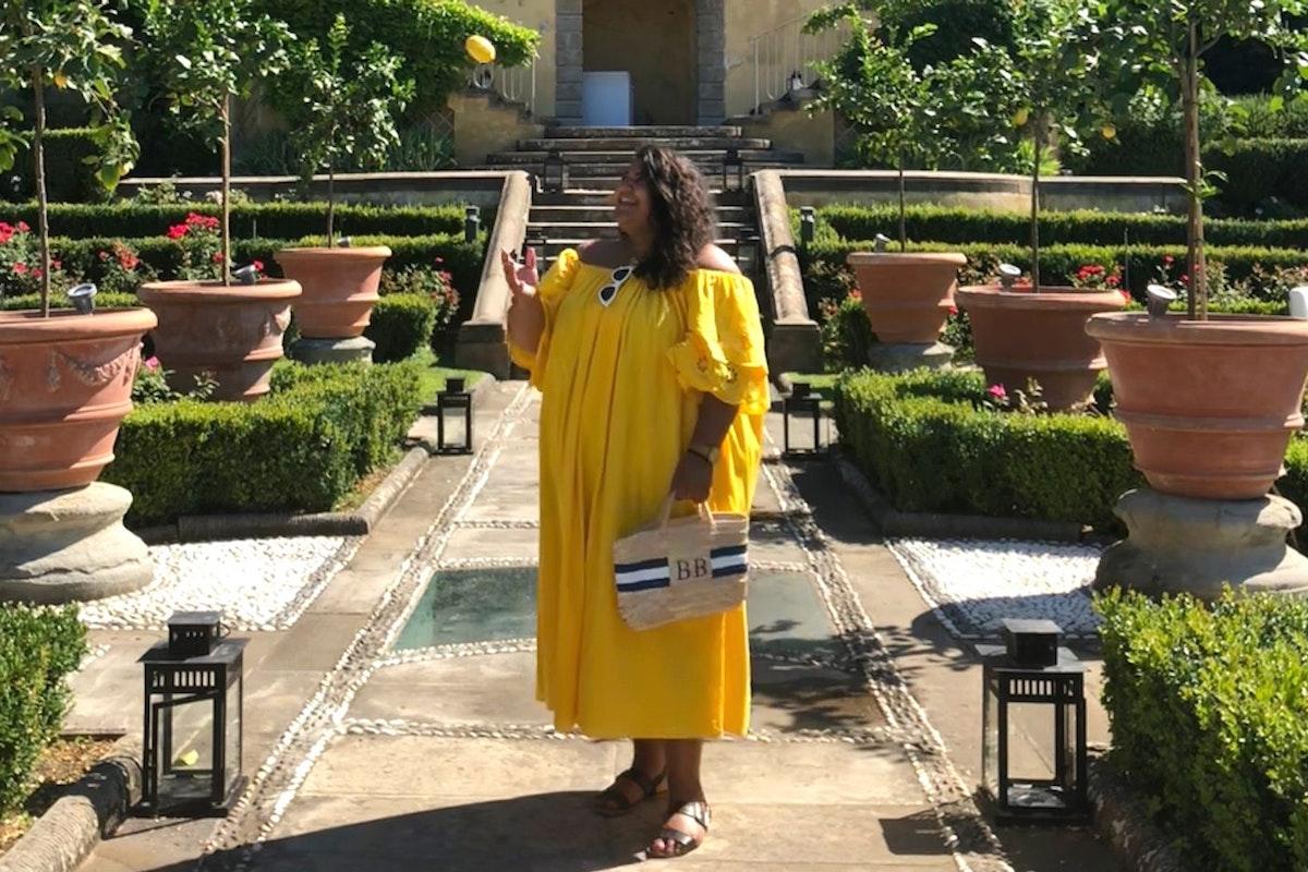 Billie Bhatia Instagram yellow dress holiday wardrobe