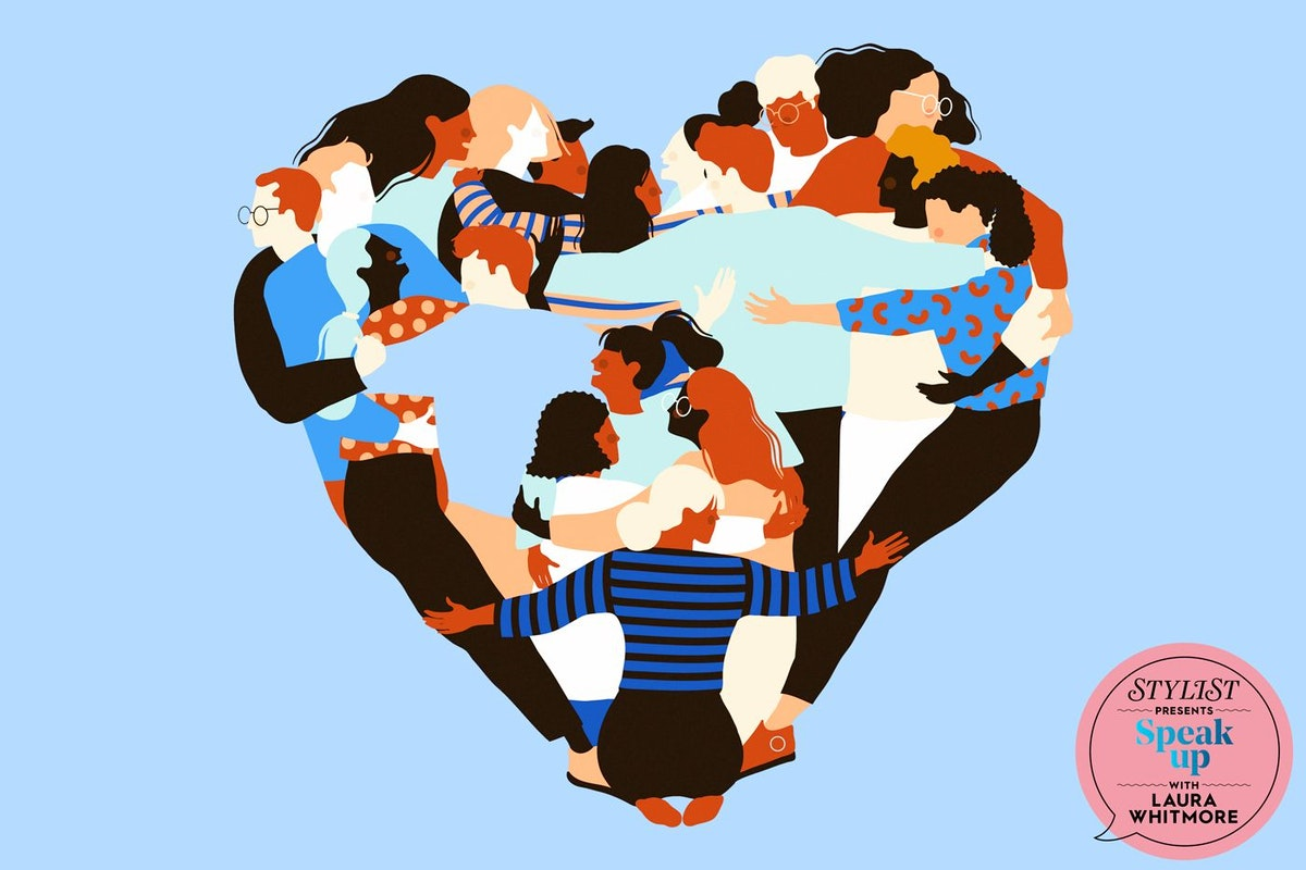 Illustration of women holding one another in shape of a heart