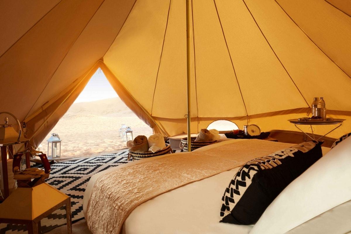 Interior of a tent at Magic Camps Dubai
