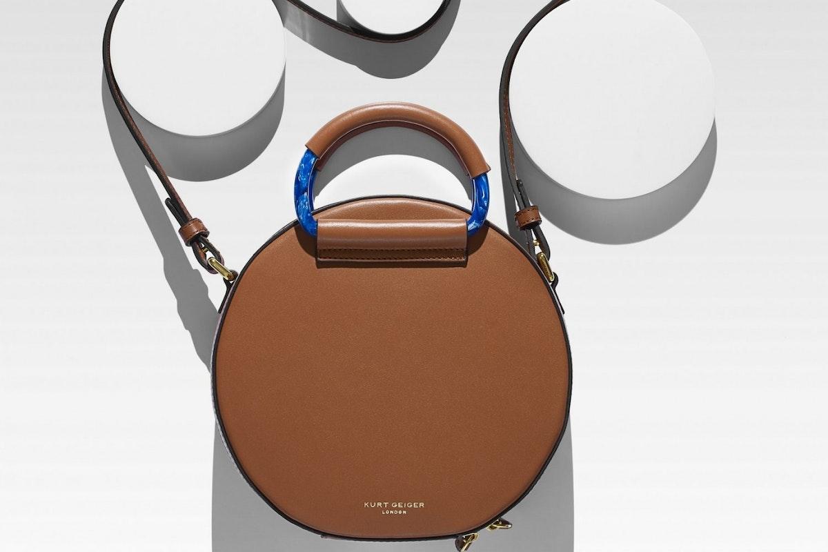 Round brown leather handbag kurt geiger london high street accessories luxury geometric bag trends