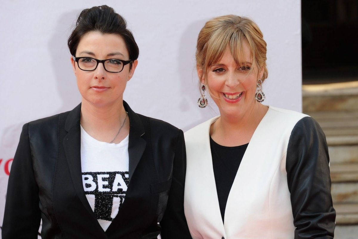LONDON, ENGLAND - MAY 18: Sue Perkins and Mel Giedroyc attend the Arqiva British Academy Television Awards at Theatre Royal on May 18, 2014 in London, England. (Photo by Stuart C. Wilson/Getty Images)
