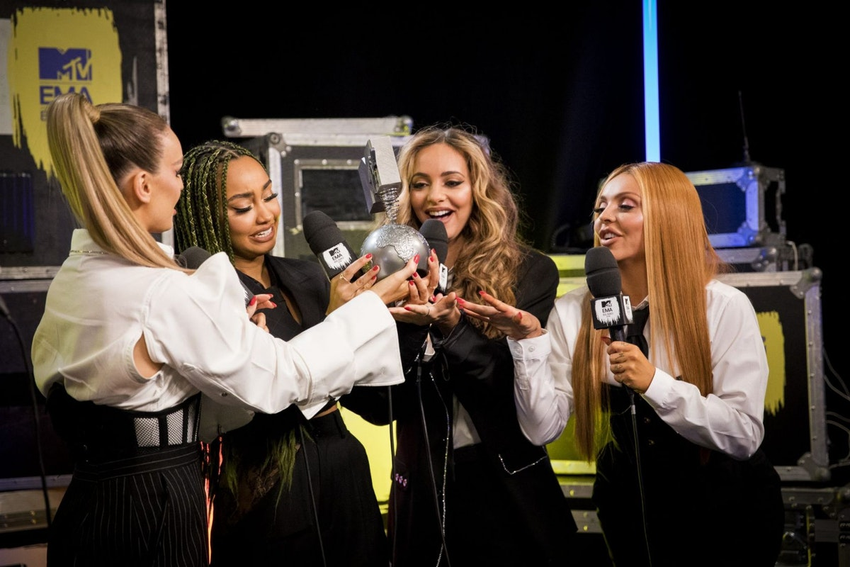 BILBAO, SPAIN - NOVEMBER 04: (L-R) Perrie Louise Edwards, Leigh-Anne Pinnock, Jade Thirlwall and Jesy Nelson of Little Mix during the MTV EMAs 2018 at Bilbao Exhibition Centre on November 04, 2018 in Bilbao, Spain. (Photo by Tristan Fewings/MTV 2018/Getty Images for MTV)