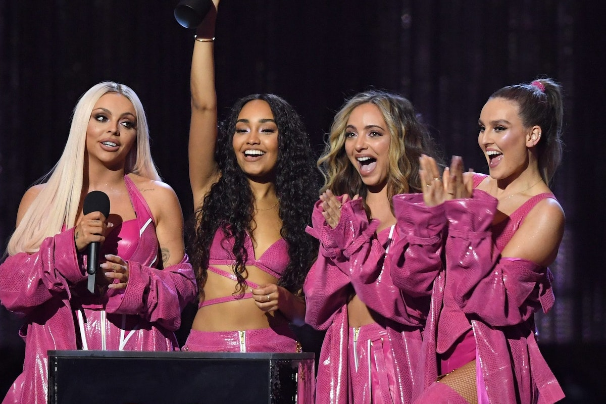 LONDON, ENGLAND - FEBRUARY 20: (EDITORIAL USE ONLY) (L-R) Jesy Nelson, Leigh-Anne Pinnock, Jade Thirlwall and Perrie Edwards of Little Mix, winners of the Best British Artist Video of the Year award during The BRIT Awards 2019 held at The O2 Arena on February 20, 2019 in London, England. (Photo by Karwai Tang/WireImage)