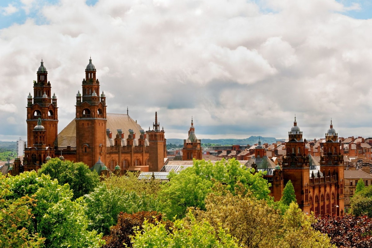 Towers of Kelvingrove Art Gallery and Museum in Glasgow, Scotland