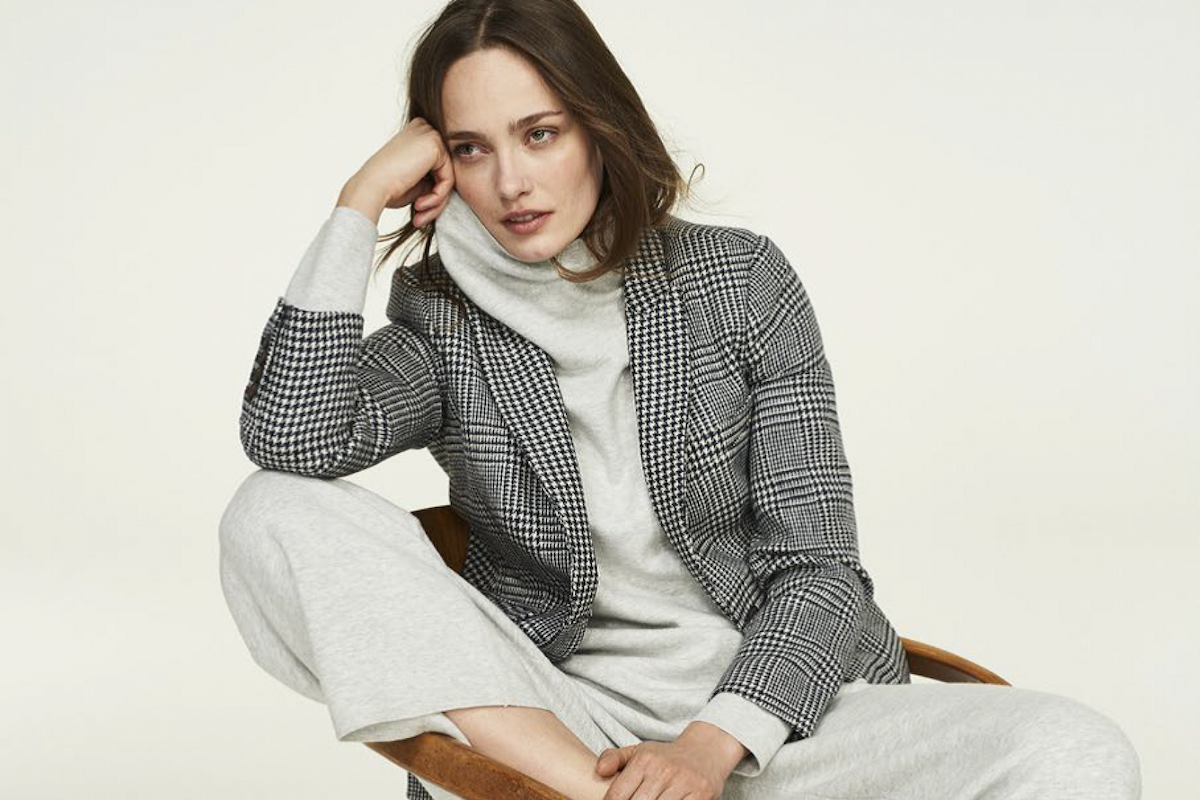 Boden cashmere roll-neck jumper grey knit high street cosy fashion style loungewear casualwear blazer trainers model
