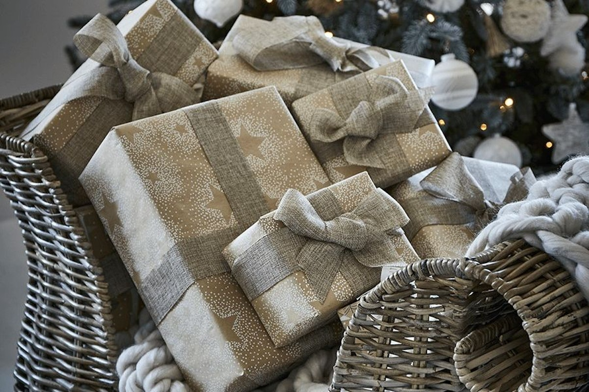 Christmas wrapping paper presents festive luxury designer gifting fashion style