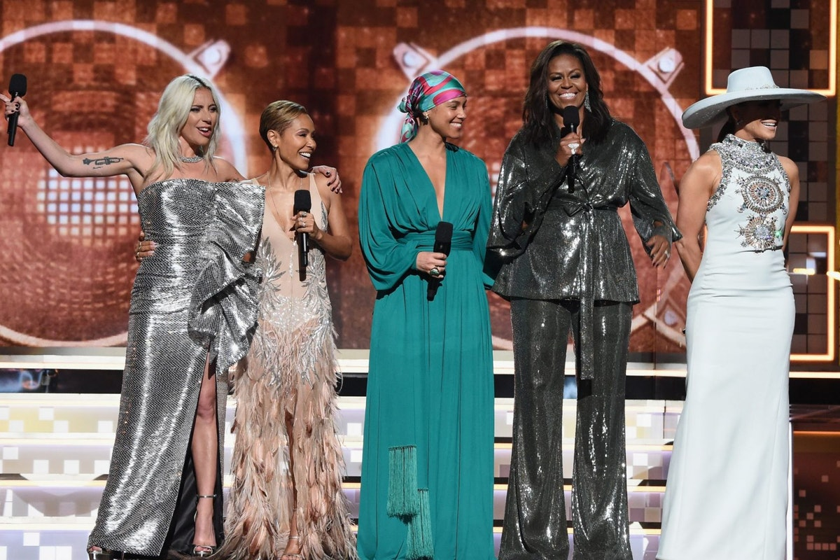 61st Annual GRAMMY Awards - Inside LOS ANGELES, CA - FEBRUARY 10: (L-R) Lady Gaga, Jada Pinkett Smith, Alicia Keys, Michelle Obama and Jennifer Lopez speak onstage during the 61st Annual GRAMMY Awards at Staples Center on February 10, 2019 in Los Angeles, California. (Photo by Kevin Mazur/Getty Images for The Recording Academy)