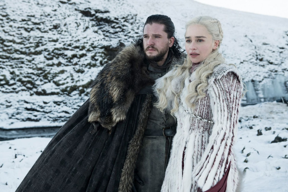Kit Harington and Emilia Clarke as Jon Snow and Daenerys Targaryen in Game of Thrones season 8