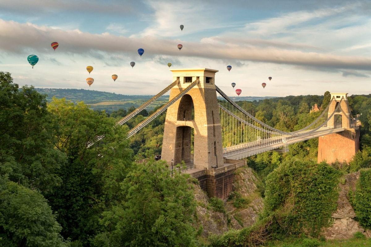 Bristol's Clifton Suspension Bridge with hot air balloons