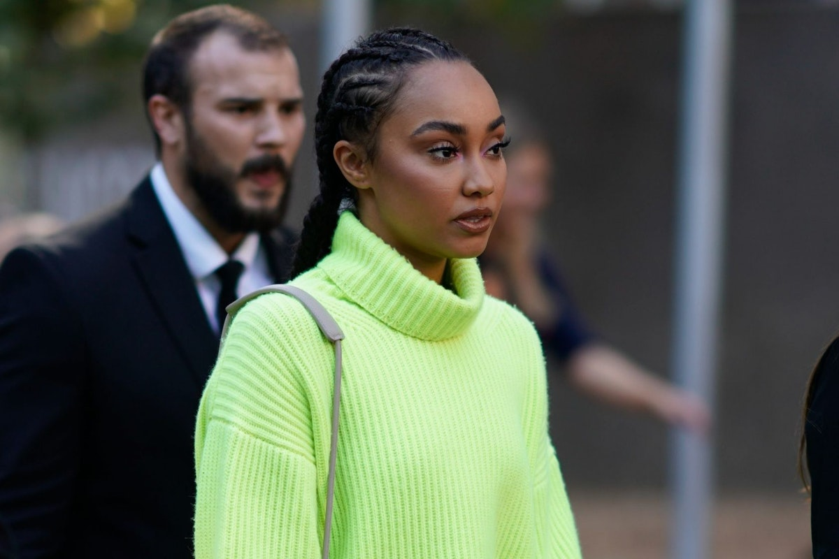 Leigh-Anne Pinnock, from the band Little Mix, during London Fashion Week September 2018 on September 17, 2018 in London, England.
