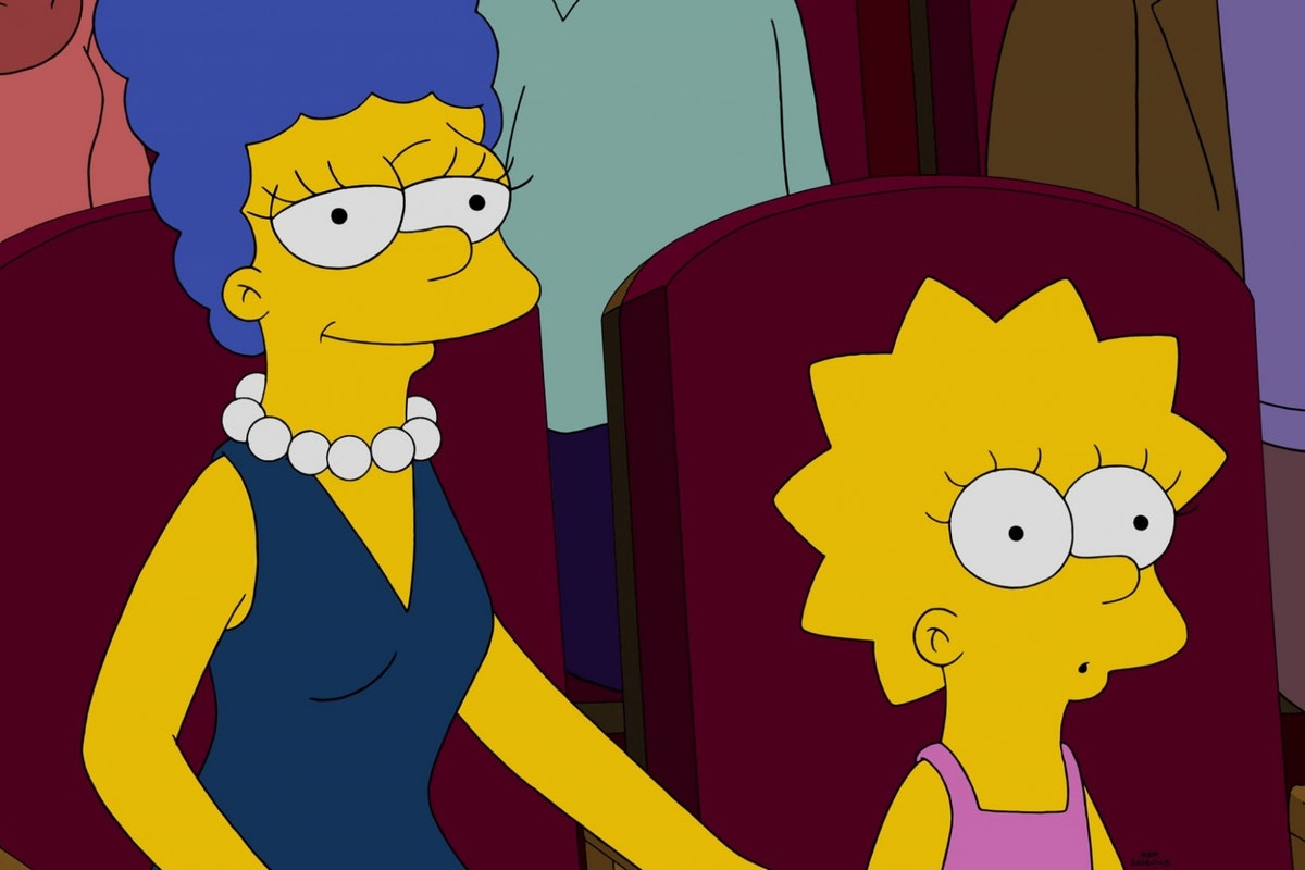 Lisa Simpson and Marge Simpson watching a film