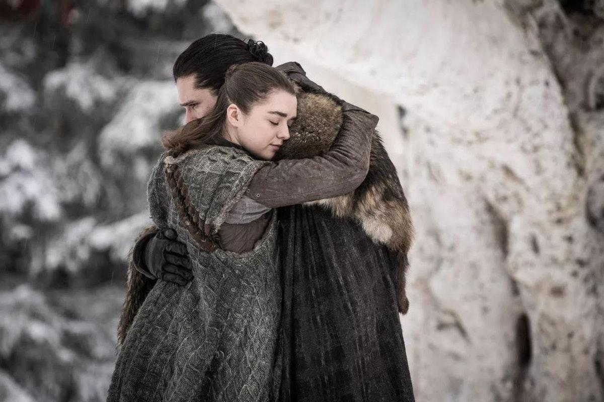 Arya Stark (Maisie Williams) and Jon Snow (Kit Harington) reunite in episode one, season eight of Game of Thrones