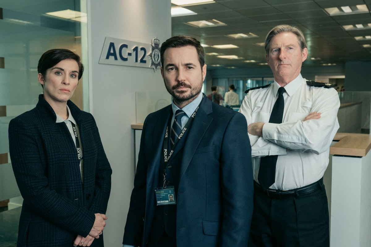 Vicky McClure, Martin Compston and Adrian Dunbar in the BBC TV series Line of Duty