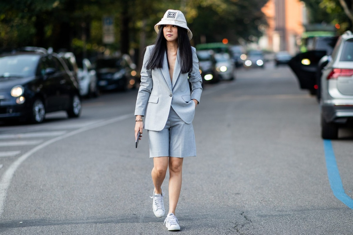 Street style image of short suit